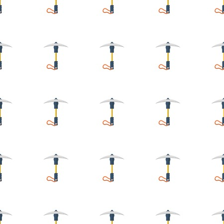ice axe: Seamless colorful vector pattern for portable ice axe or pick on white background. Illustration