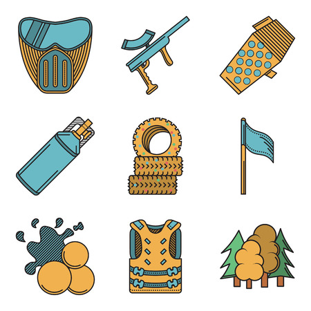 safety harness: Set of flat color vector icons with black contour for paintball on white background.