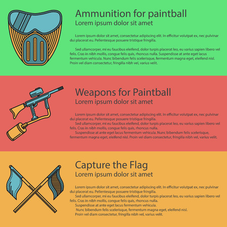 Vector - Vector design elements with paintball mask, marker and flag on colored backgrounds with sample text for your business or website.