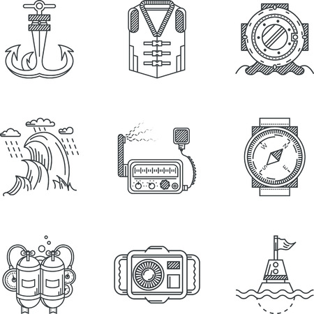 Set of flat black contour vector icons for diving or snorkeling on white background Vector