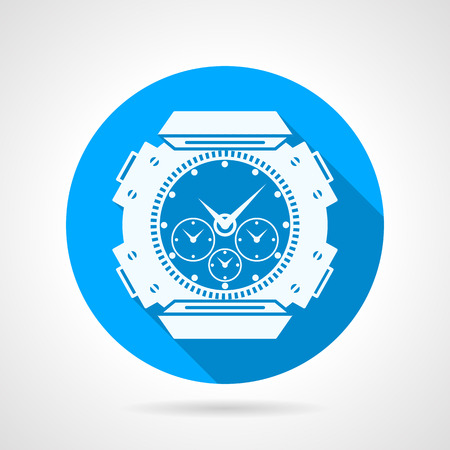 chronograph: Flat blue round vector icon with white silhouette waterproof divers watch on gray background. Long shadow design Illustration
