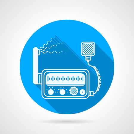 loud speaker: Flat blue round vector icon with white silhouette VHF radio transceiver station with loud speaker on gray background. Long shadow design