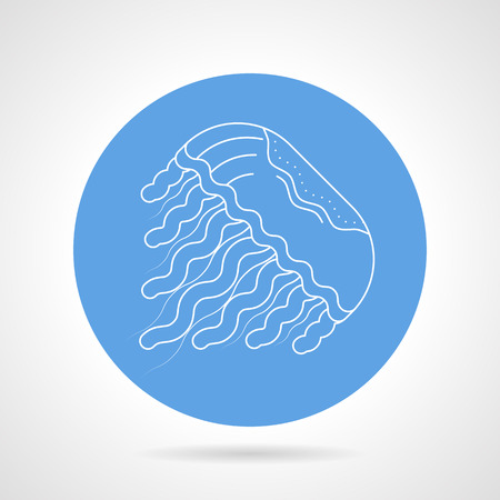hydrozoa: Flat blue round vector icon with white line swimming jellyfish on gray background.