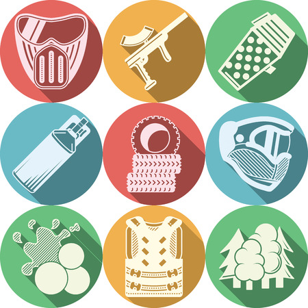 Set of round flat color vector icons with white silhouette paintball and airsoft equipment and outfit on white background. Long shadow design. Illustration