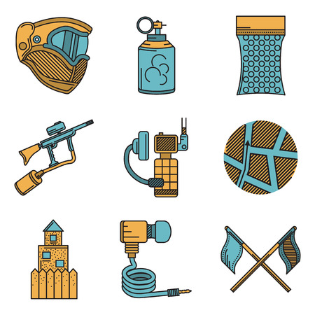 hopper: Set of flat color vector icons with black line contour for paintball and airsoft equipment and outfit on white background. Long shadow design.