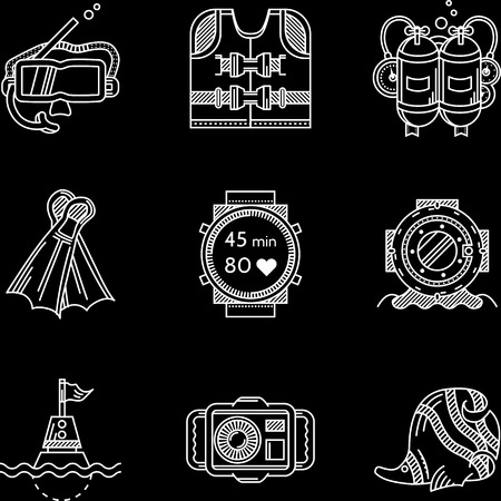 lifejacket: Set of flat white contour vector icons for diving and snorkeling equipment on black background.