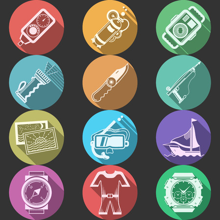 regulator: Colored round flat icons vector collection of white silhouette equipment and outfit for diving and snorkeling on black background. Long shadow design