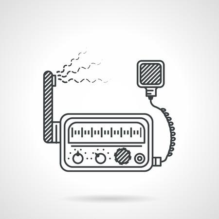 Black flat line design icon for VHF transceiver on white background Illustration