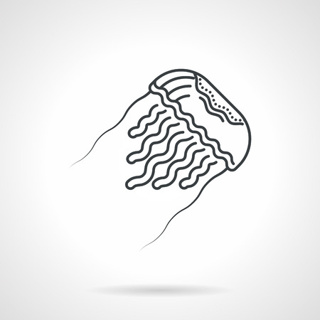 hydrozoa: Black flat line design icon for sea life with moving jellyfish on white background Illustration