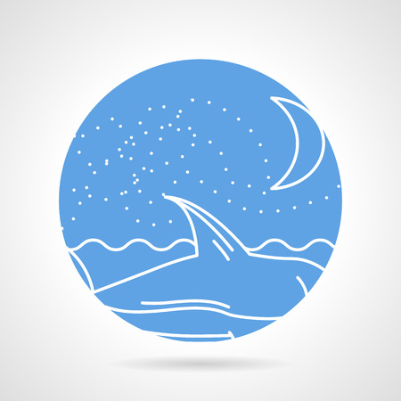 Abstract flat circle vector icon with white line seascape with waves, night sky and floating shark on gray background. Vector