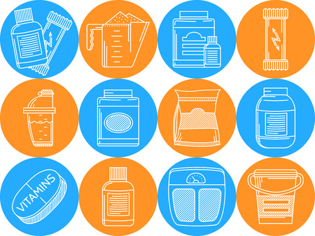 gainer: Set of round blue and orange vector icons with white line elements for sport supplements on white background. Illustration