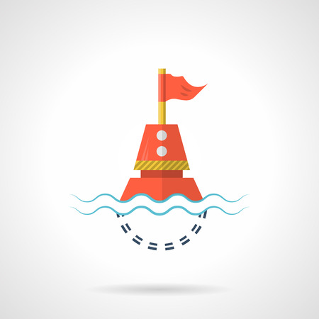 Flat color design vector icon for red sea buoy with flag in water on white background.