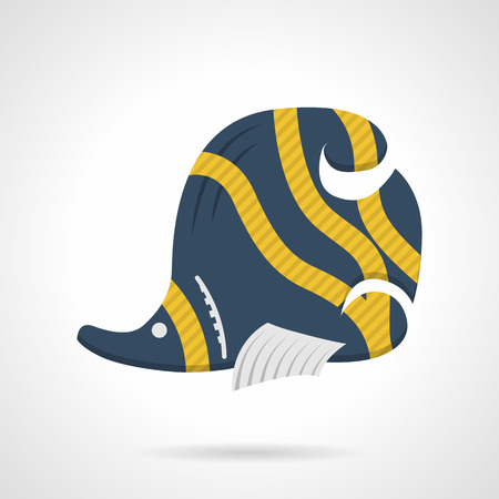 butterflyfish: Flat color design vector icon for blue butterflyfish with curved yellow stripes on white background.