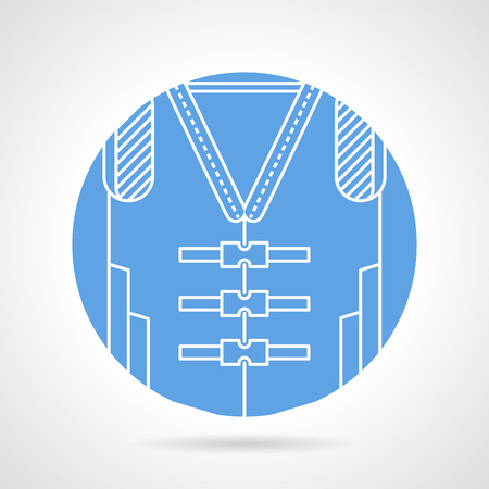 lifejacket: Circle blue vector icon with white line lifejacket with straps on gray background.