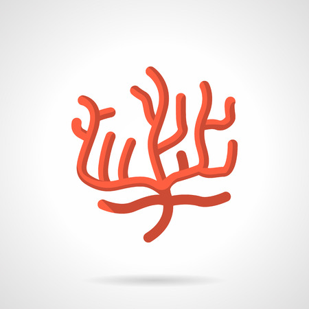 anthozoa: Flat color design vector icon for red coral on white background.