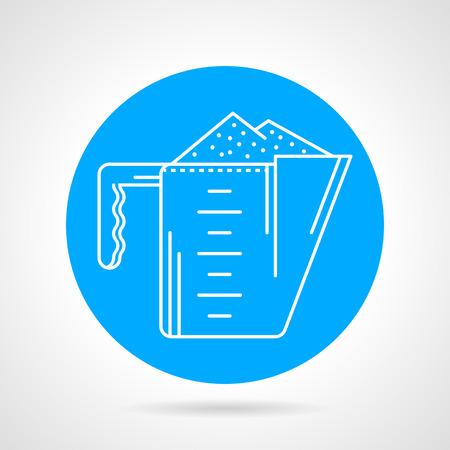 casein: Piso icono azul vector ronda con blanco cuchara medida acorde con prote�na en polvo en el fondo gris. Vectores