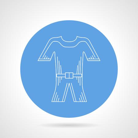 inmersion: Icono redondo del vector azul con blanco contorno buceo traje de buceo en el fondo gris.