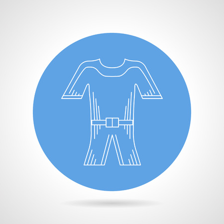 wet suit: Round blue vector icon with white contour snorkeling wet suit on gray background.