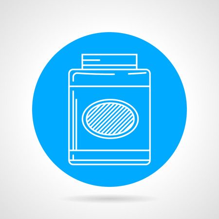 gain: Blue circle flat vector icon with white line gainer, sport supplements for gain muscle mass .