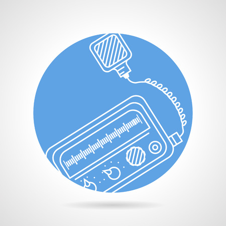 Flat blue circle vector icon with white contour VHF radio transceiver on gray background.