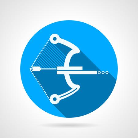 armbrust: Wohnung blauen Kreis Vektor-Symbol mit wei�er Silhouette alternative Paintball Waffe Ball Armbrust auf grauem Hintergrund. Lange Schatten Design Illustration