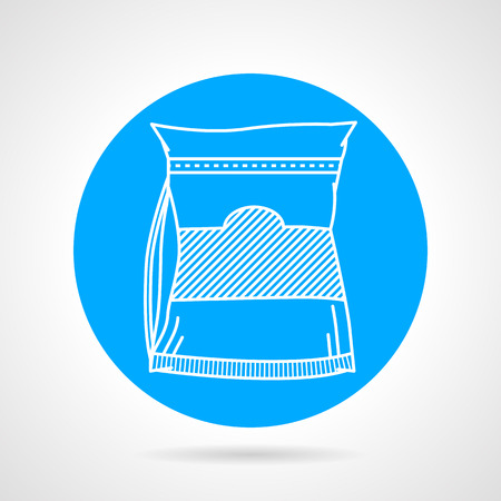 synthesis: Flat blue vector icon with white line glutamine pack on gray background. Sports nutrition for increase protein synthesis on workout. Illustration