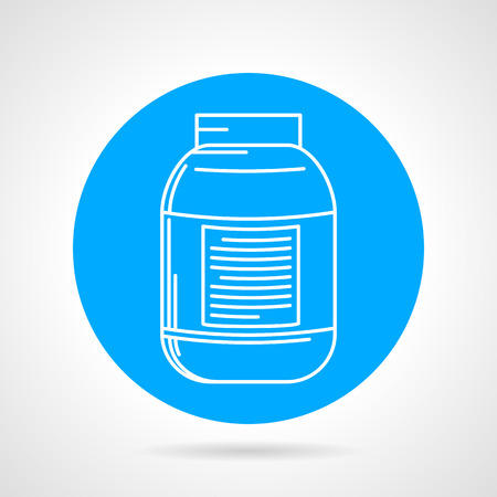 anaerobic: Flat blue vector icon with white line creatine pack on gray background. Sports nutrition for increase strength, muscle mass and short-term anaerobic endurance on workout.