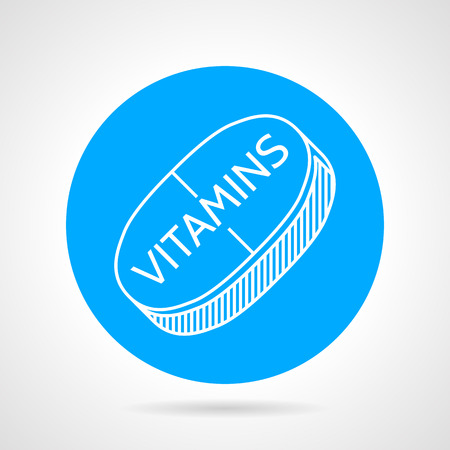 supplementation: Flat blue vector icon with white line vitamine pill on gray background. Concentrate of vitamins for maximum muscle growth and health of the body.