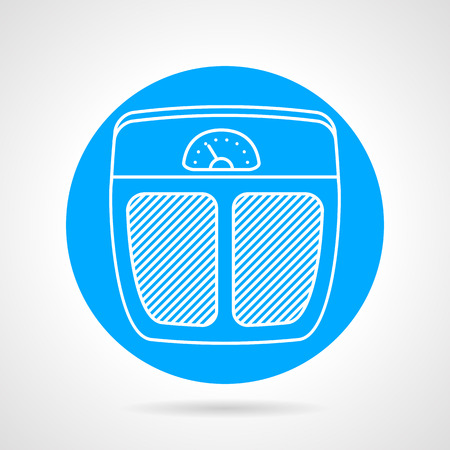 to weigh: Round blue vector icon with flat white line scales for sport weigh controlling on gray background.