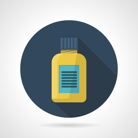 appetite: Dark blue flat round vector icon for fat burners or vitamins yellow can on gray background. Sport nutrition for reduce appetite and burn fat cells or diet vitamins for health of the body. Long shadow design. Illustration
