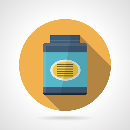 gainer: Yellow flat color round vector icon for gainer, sport supplements for gain muscle mass. Long shadow design.