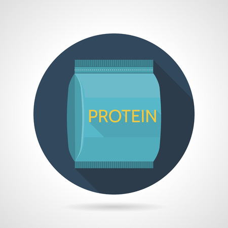synthesis: Dark blue flat color round vector icon for protein blue pack on gray background. Sports nutrition for increase protein synthesis on workout. Long shadow design.