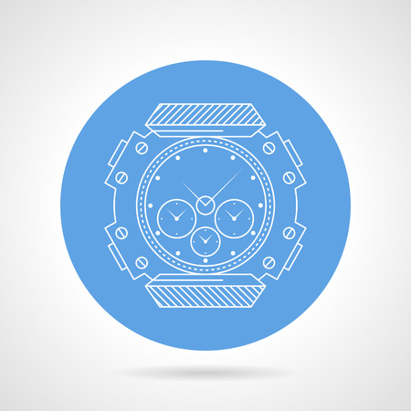 timeless: Flat blue vector icon with white line wrist watch in waterproof case for diving and snorkeling on gray background.