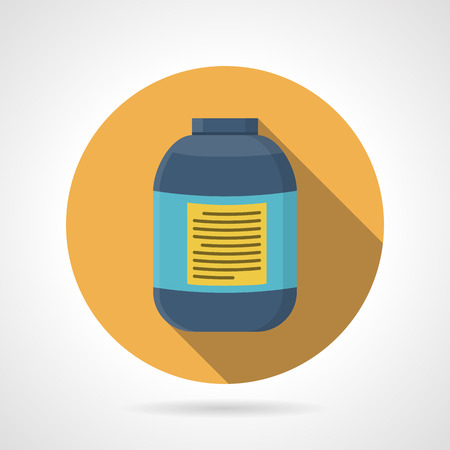 endurance: Yellow flat color round vector icon for creatine blue bottle on gray background. Sports nutrition for increase strength, muscle mass and short-term anaerobic endurance on workout. Long shadow design.