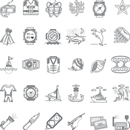 Set of flat black line vector icons for sea active leisure, snorkeling and diving equipment on white background.