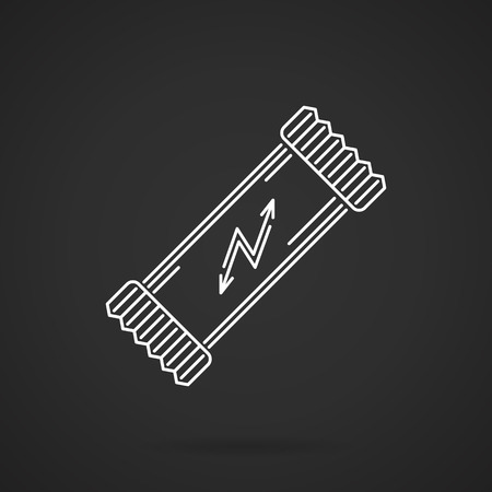 carbohydrates: White flat line design vector icon for protein bar with carbohydrates and proteins for training, sport nutrition dessert on black design. Illustration