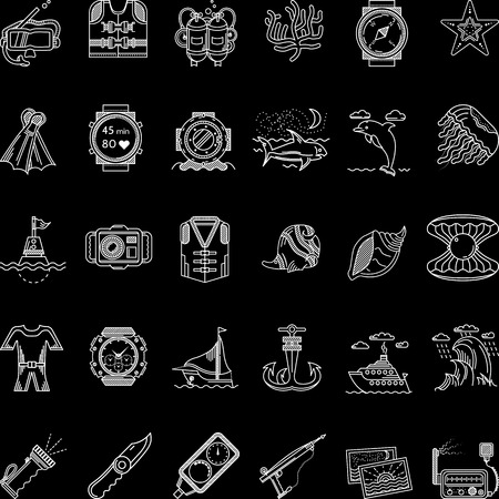 Set of flat white line vector icons for scuba diving and snorkeling objects and underwater life on black background. Vector