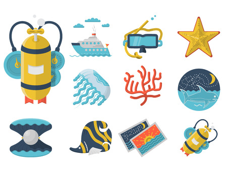 Set of flat color design vector icons for sea vacations on white background. Scuba diving and snorkeling objects and underwater life. Vector
