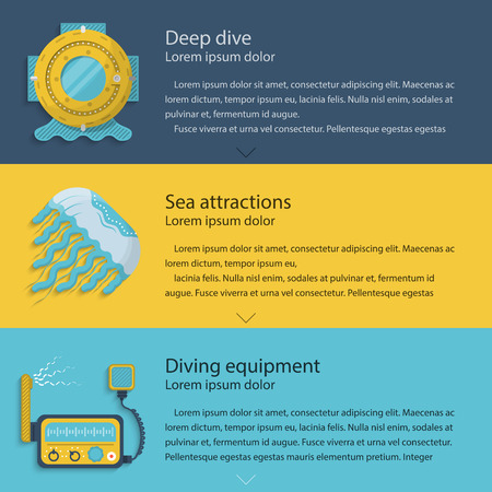 Design elements for scuba helmet, jellyfish and VHF radio transceiver on colored backgrounds with sample text for your business or website. Flat vector illustration Vector
