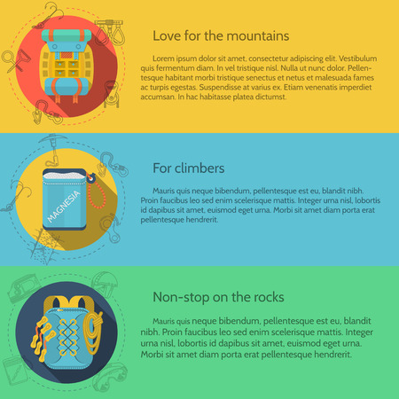 Design elements for rock climbing and hiking outfit on colored backgrounds with sample text for your business or website. Flat vector illustration Vector