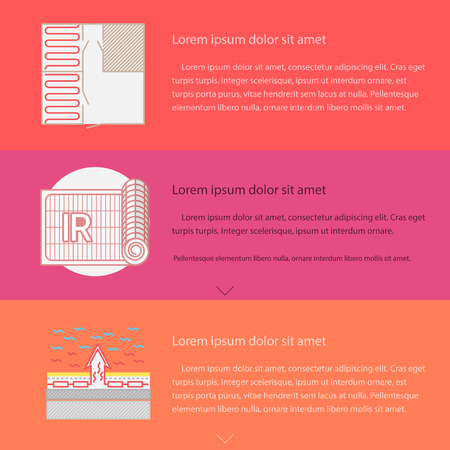 floor heating: Design elements for radiation underfloor heating service and installation on colored backgrounds with sample text for your business or website. Flat vector illustration