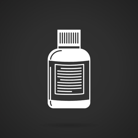 burners: White vector icon for fat burners or vitamins can on black background. Sport nutrition for reduce appetite and burn fat cells or diet vitamins for health of the body. Illustration