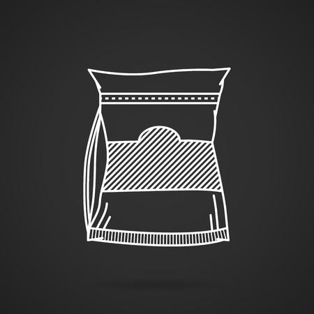 synthesis: Flat white line vector icon for glutamine pack on black background. Sports nutrition for increase protein synthesis on workout