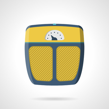 to weigh: Flat color vector icon for yellow analogue scales for weigh control on trainings on white background. Illustration