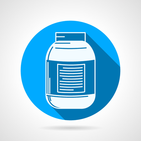 endurance: Round blue flat vector icon with white silhouette creatine bottle on gray background with long shadow. Sports nutrition for increase strength, muscle mass and short-term anaerobic endurance on workout.