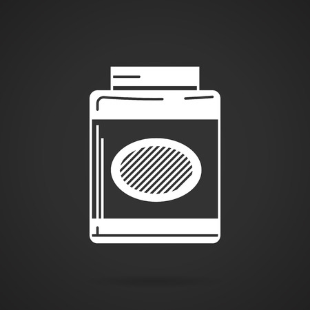 gainer: White silhouette vector icon for gainer, sport supplements for gain muscle mass on black background.