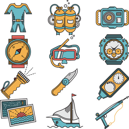 Flat color design icons vector collection for scuba diving equipment and objects on white background. Vector