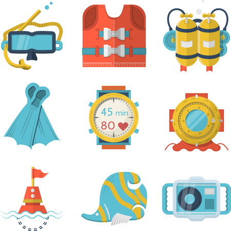 Set of flat color design vector icons for leisure diving objects on white background. Vector