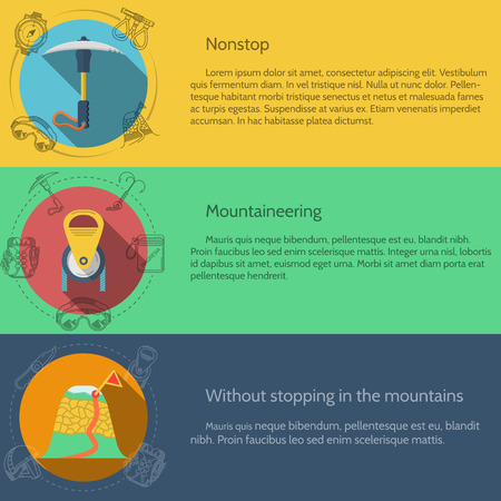 mountaineering: Design elements for equipment and accessory for rock climbing and mountaineering on colored backgrounds with sample text for your business or website. Flat vector illustration Illustration