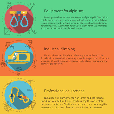 Design elements for equipment and accessory for rock climbing and mountaineering on colored backgrounds with sample text for your business or website. Flat vector illustration Vector